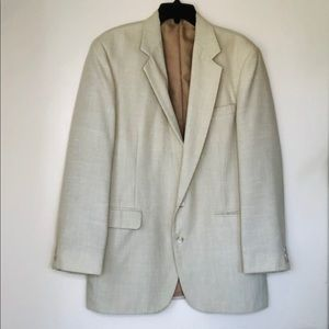 🔆HAGGAR🔆Suit Sport Jacket Tan Cream Linen Blazer